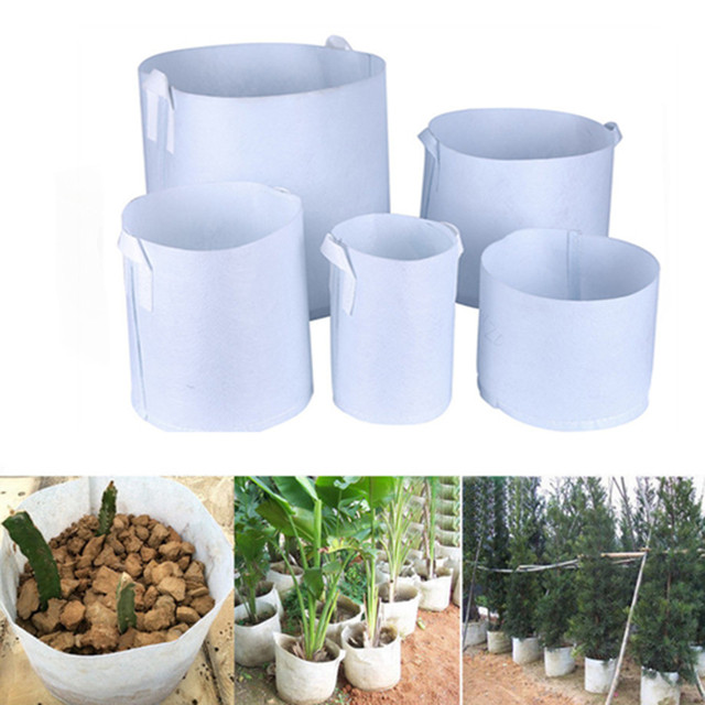 7Sizes  Round white  Fabric Pots Plant Pouch Root Container Grow Bag Aeration Container