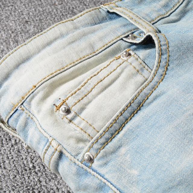 Sokotoo Men's patchwork bandanna paisley printed biker jeans Light blue holes ripped skinny stretch denim pants Trousers 29