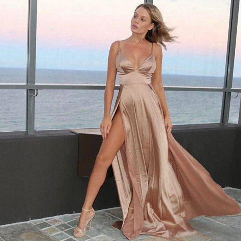 2018 Sexy Deep V Neck Backless Maxi Dress 2 High Splits Dress Red Satin  Floor Length Open Back Night Club Evening Party Dress-in Dresses from  Women s ... eb6febc4c6f2