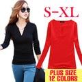 V-Neck crochet T Shirt Women T-shirt Casual Tops Long Sleeve Fashion blusas femininas 2016 Solid tee shirts Clothing