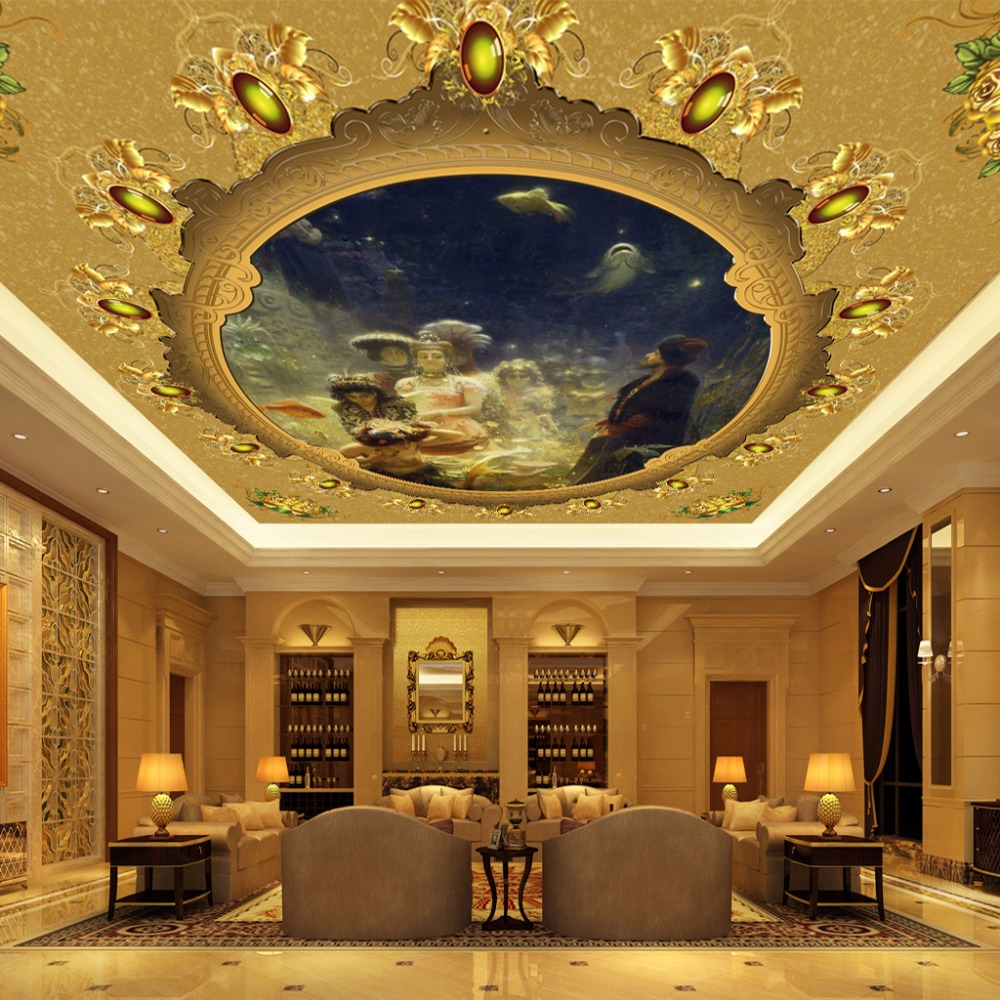 High Quality Custom Wall Mural Wallpaper European Style Character Oil Painting Living Room Bedroom Ceiling Murals Wallpaper  free shipping large mural wallpaper villa living room ceiling european oil painting wallpaper