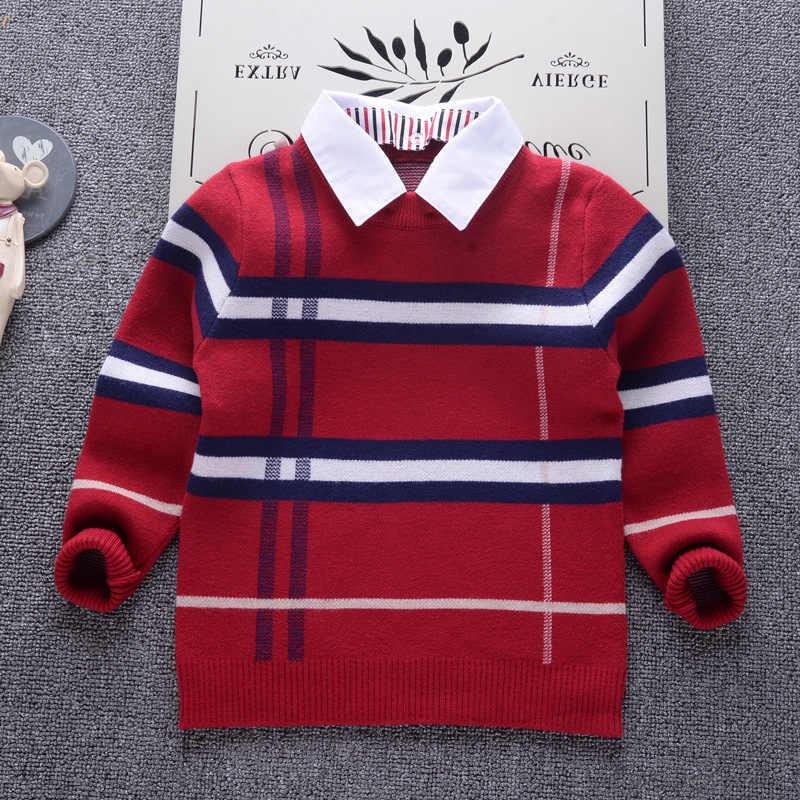2018 novo outono meninos camisola xadrez crianças malhas meninos pulôver de algodão camisola crianças moda outerwear camiseta 2-8 t roupas