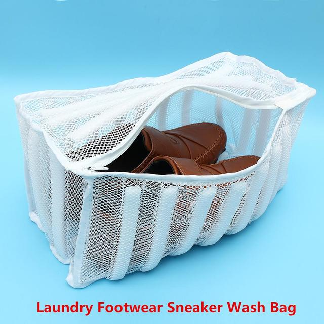 Zippered Laundry Footwear Mesh Wash Bag Sneaker Washer Dryer White