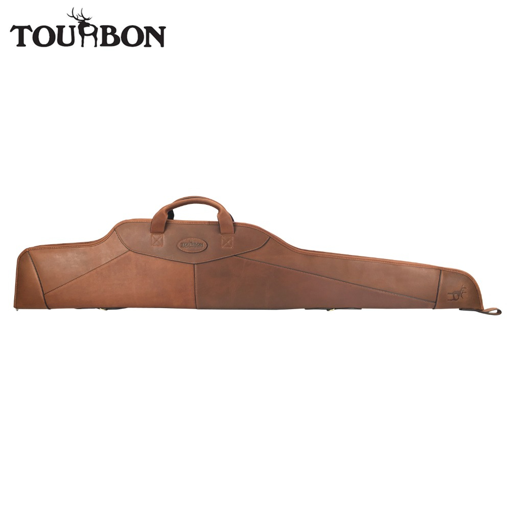 Tourbon Hunting Scoped Rifle Case Genuine Leather Gun Slip Holds Scope Fleece Padded Protection Bag 128CM Shooting Gun Accessory tourbon hunting tactical gun case rifle scope sight cover carrier shooting gun slip bag 132cm gun accessory