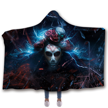 Pumpkin Skull Halloween Blanket Throw Soft Hooded Wearable Printed Travel Festival Winter BlanketDropship