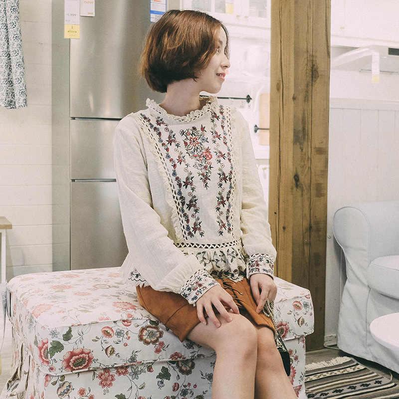 Модная рубашка с вышивкой в тяжелой промышленности, топ mori girl, лето 2018
