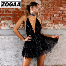ZOGAA Sexy Sequined Dresses Women Backless Halter Black Gold Mini Dress Party 2018 New Arrivals Tassel Summer Club Wear