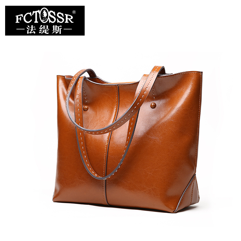 High Quality Oil Leather Lady Handbags 2018 European and American Style Shoulder Bags Women Fashion Large Capacity Tote Bags стоимость