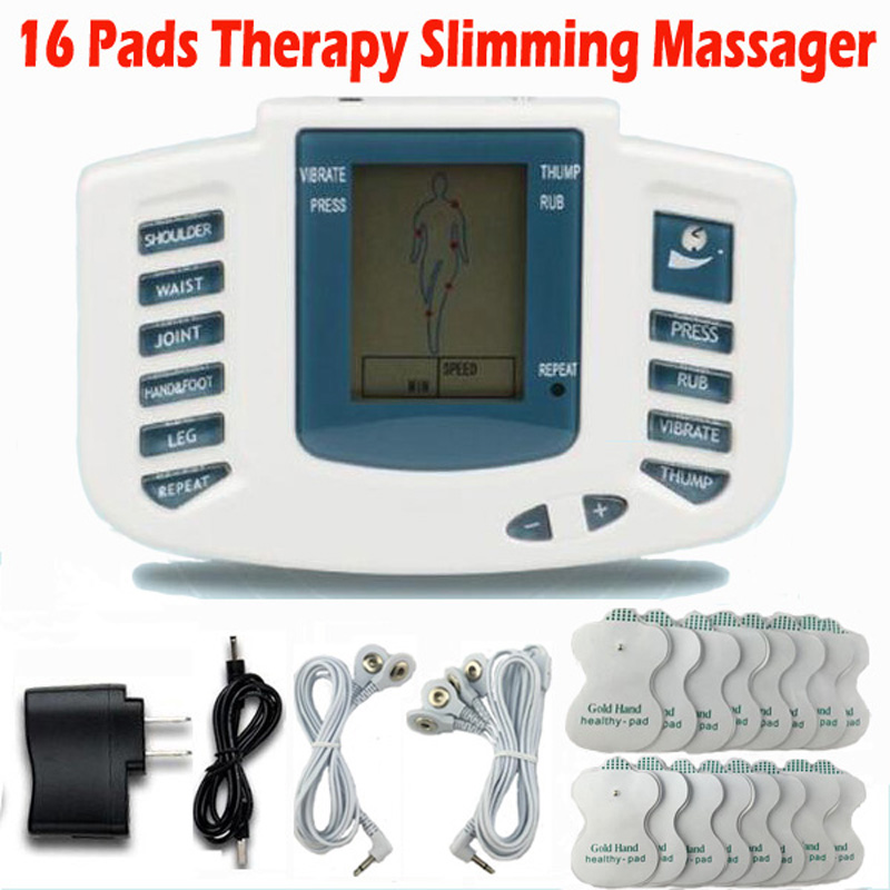 Electrical Stimulator Full Body Relax Muscle Therapy Massager Massage Pulse tens Acupuncture Health Care Slimming Machine 16pads 10pcs lot electrical muscle stimulator body relax massager pulse tens acupuncture physiotherapy massage device health care tool