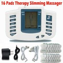 Elektrik stimülatörü tam vücut Relax kas terapi masajı masaj darbe onlarca akupunktur sağlık zayıflama makinesi 16 pedleri