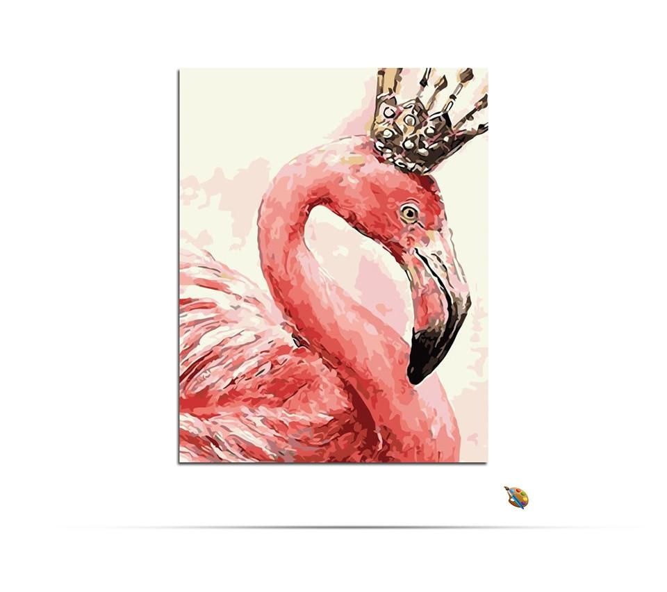 Unframed DIY Minyak Lukisan Dengan Angka Tangan Dicat Kanvas Flamingo Hewan Gambar Di Atas Kanvas Eropa Dekorasi Rumah