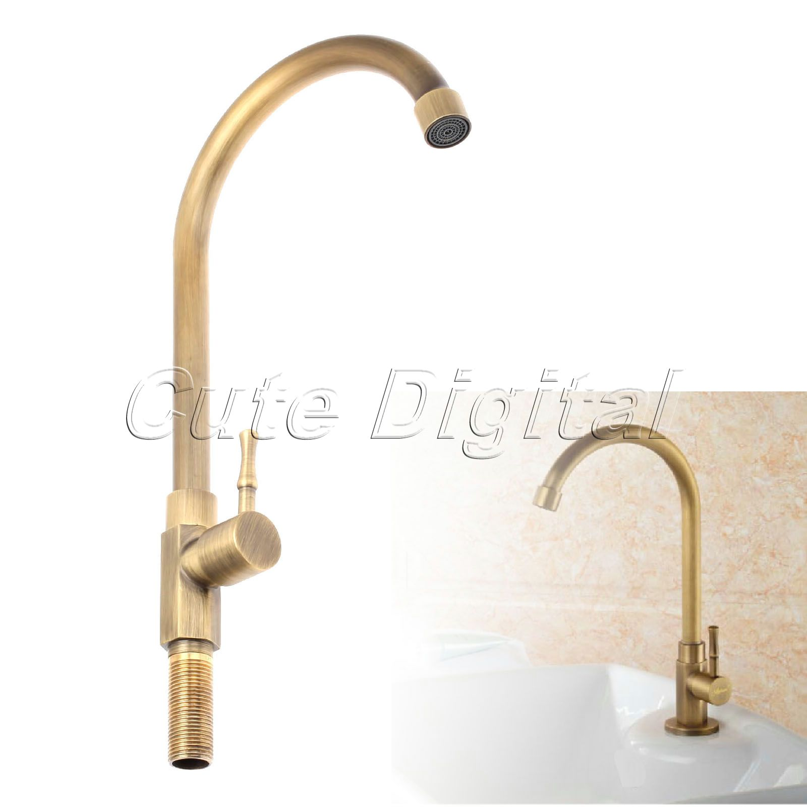 ФОТО Antique Brass Luxury Bathroom Sink Faucet Single Handle Swivel Spout Kitchen Faucets Vessel Sink Mixer Water Tap Basin Faucets