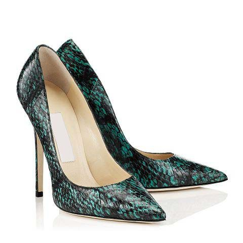 2016 nightclub sexy suede pointed toe green snakeskin ladies pumps Embossing  Shallow mouth high heel woman single shoes-in Women's Pumps from Shoes on  ...