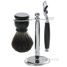 Black/Silvertip Badger Brush Shaving Set Bathroom Kits Wet Hair Clean Razor Stand Man Gift цена в Москве и Питере