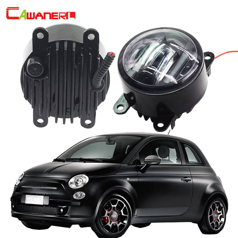 Cawanerl 1 Pair Car Accessories Right + Left Fog Light LED Daytime Running Lamp DRL For Fiat 500 cawanerl 1 pair 100w h3 car led bulb 20 smd 2200lm white 6000k automotive fog light daytime running lamp headlight low beam drl