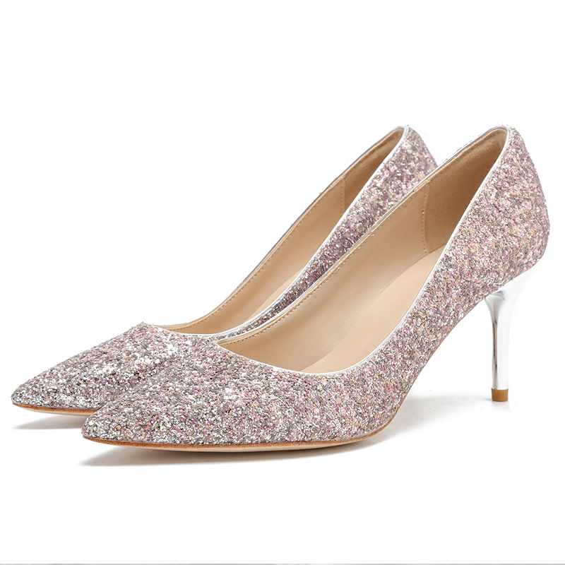 Pink High Heels For Wedding: Bridal Shoes Wedding Shoes Gold Pink Sequins Shallow Mouth