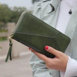 Женский кошелек с геометрическим ремешком, Длинный кошелек на молнии, вместительный кошелек для монет, брендовый новый модный кошелек для телефона