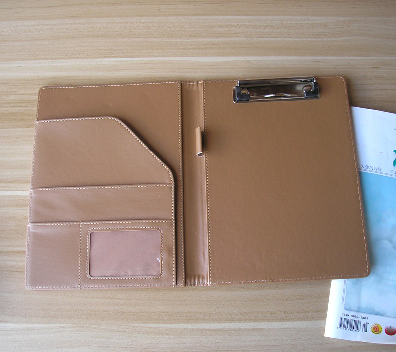 Promotion A5 Faux Leather File Folder Padfolio Conference Menu Cover With Memo Pad Inner Paper Clip Notebook Office Supplies