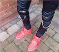 Los hombres de marca de moda hip hop hombres ropa urbana se estrecha negro hombres estilos de ropa cremallera para hombre flaco pantalones de cuero de los hombres