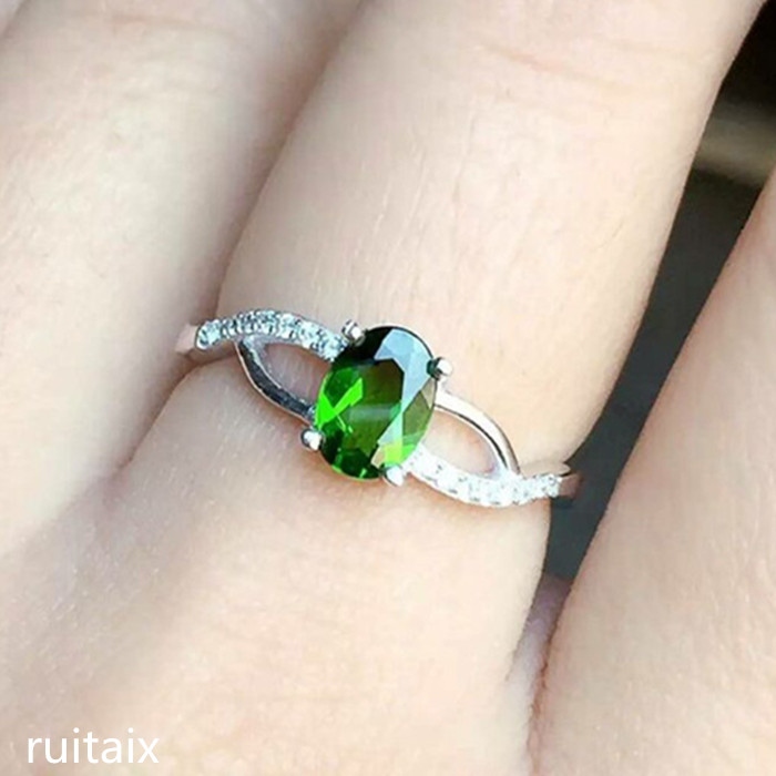 KJJEAXCMY fine jewelry 925 Pure silver inlay natural diophane stone rings for ladies with smooth curvesKJJEAXCMY fine jewelry 925 Pure silver inlay natural diophane stone rings for ladies with smooth curves