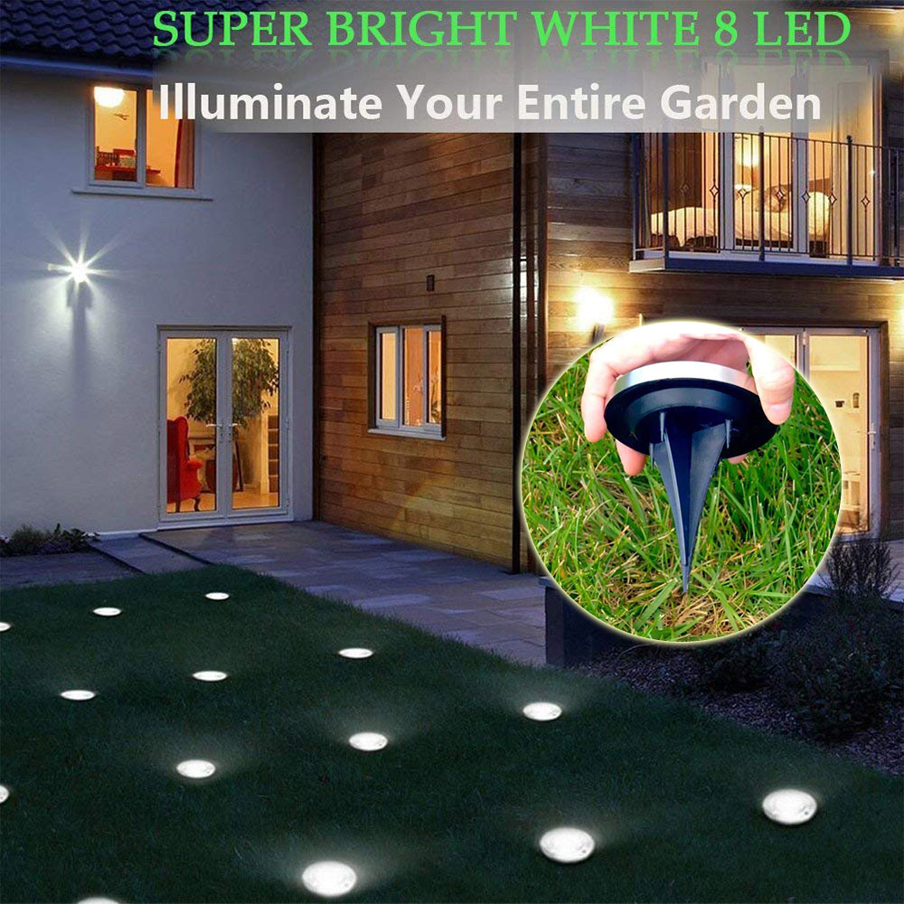 Underground Lamps LED Light Outdoor Solar Powered Lights Waterproof Stainless Steel Buried Floor Light Path Ground Garden Lamp
