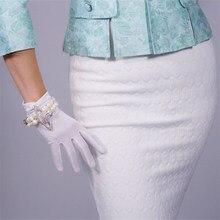 2019 New Velour Gloves 22cm Short Style High Elastic Female Gold Velvet Woman With Touchscreen Vestido De Noche TB126-1