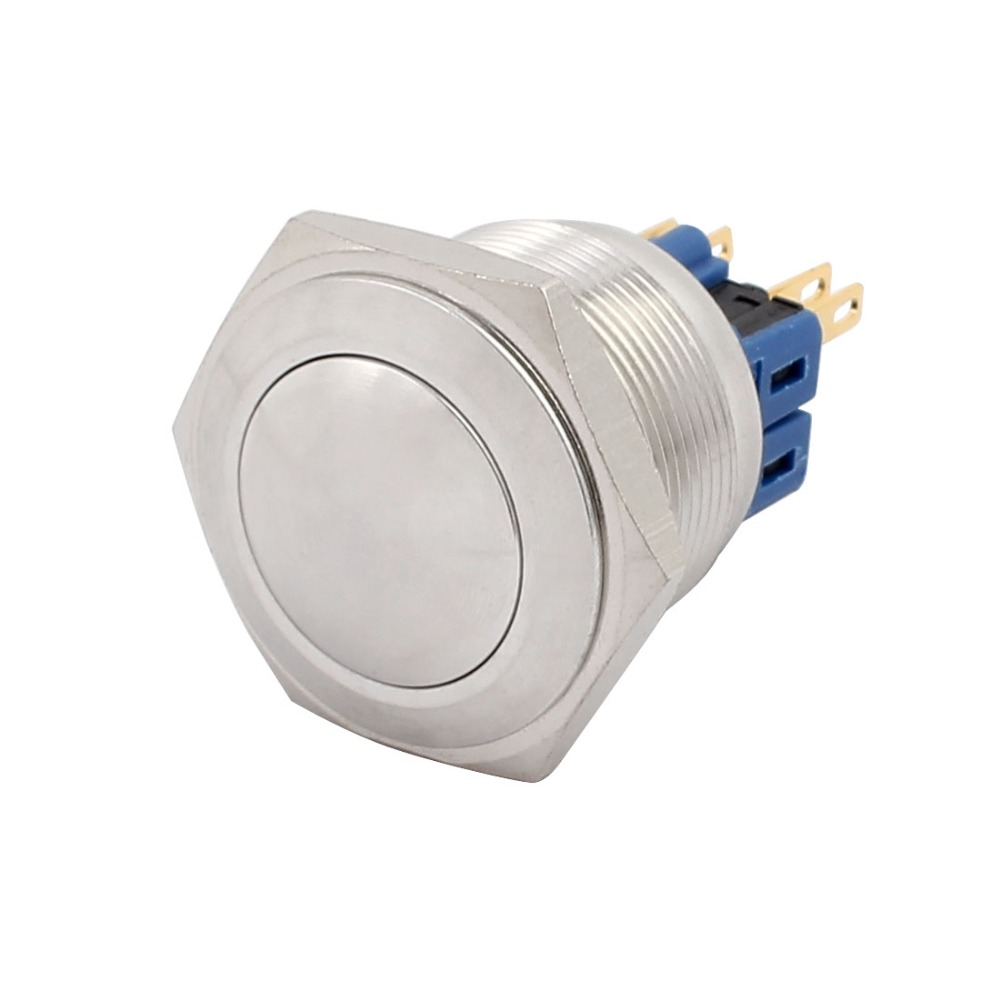 UL AC 5A 250V 25mm 0.98 Mounting Thread Domed Round 1NO 1NC DPST Momentary Stainless Steel Metal Waterproof Push Button Switch