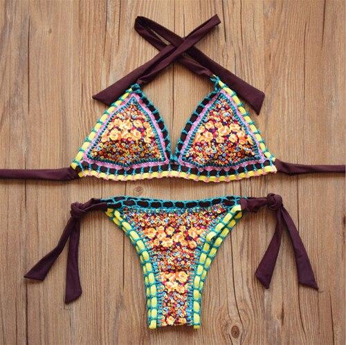 82ebc435e84a € 17.01  Hot new europe 2016 tela de goma de neopreno bikinis de ganchillo  hecho a mano sexy bikini halter swimsuit swimwear malliot de bain en ...