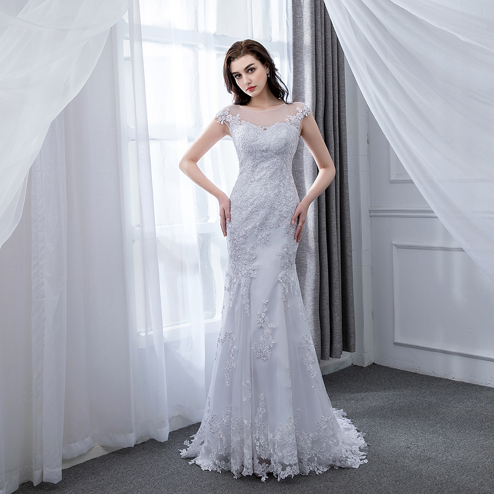 Wedding Dress 2019 Vestido De Novias Mermaid White Custom Made Simple Wedding Gowns Bridal Dresses Robe De Mariage Brautkleid