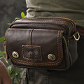 Crazy Horse Genuine Leather Waist Bag Men Vintage Cell Phone Case Hip Belt Purse Hook Fanny Pack Small Messenger Shoulder Bags
