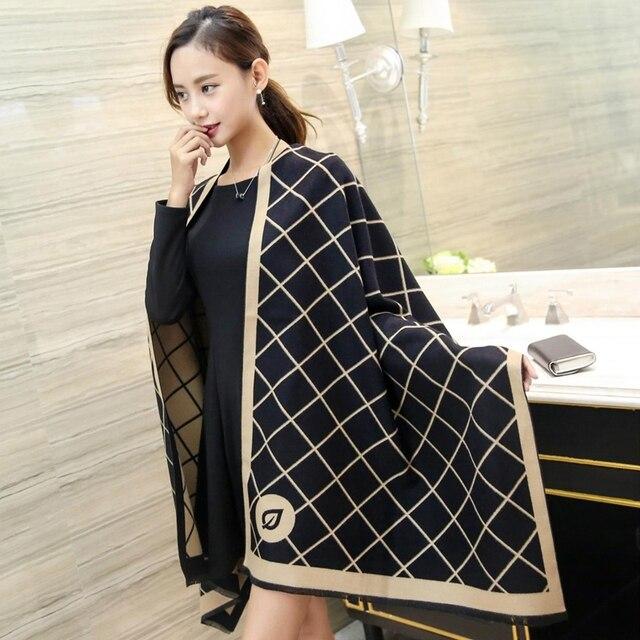 Мода люксовый бренд Кашемир шарф Женщин высокого качества большой размер плед Шали и шарфы Зима Теплая Пашмины écharpe cachecol
