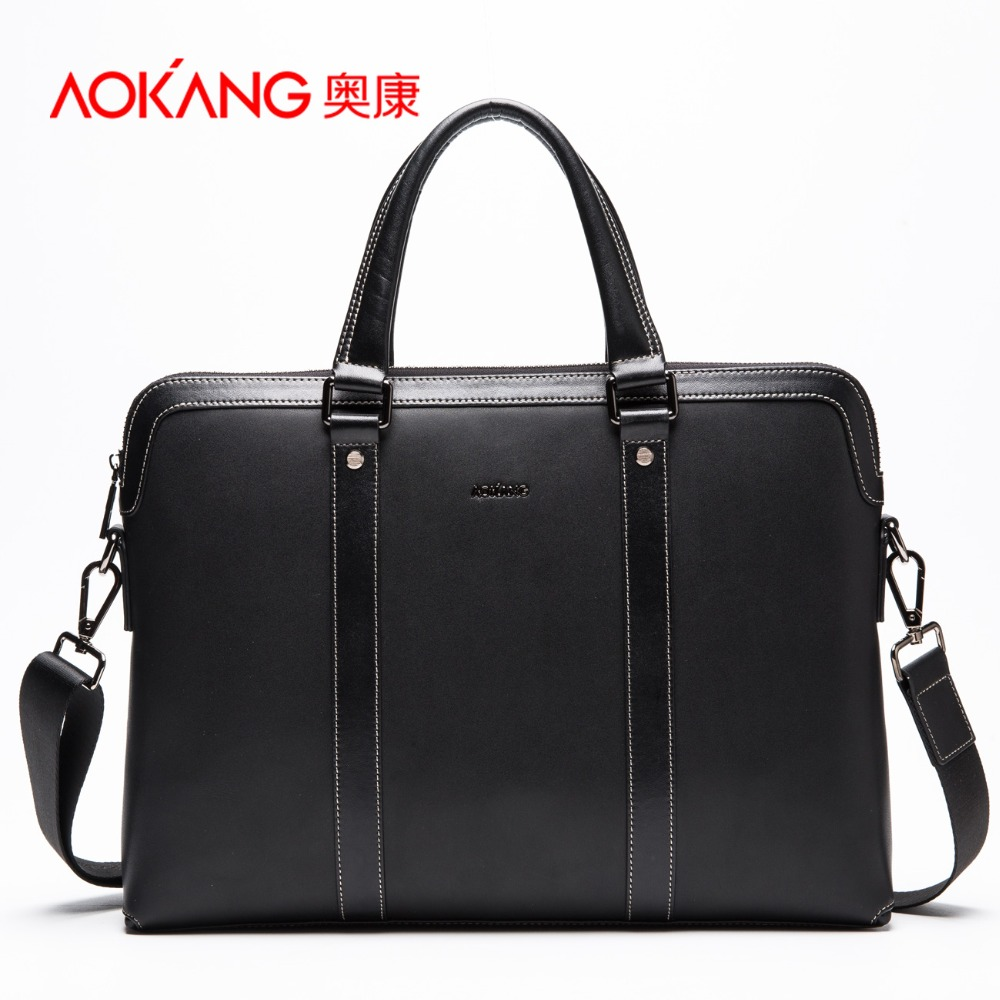Aokang Genuine Leather Bag business Men Handbags Cowhide Men Crossbody Bag Men's Travel Bags Laptop Briefcase Bag free shipping mva genuine leather men bag business briefcase messenger handbags men crossbody bags men s travel laptop bag shoulder tote bags