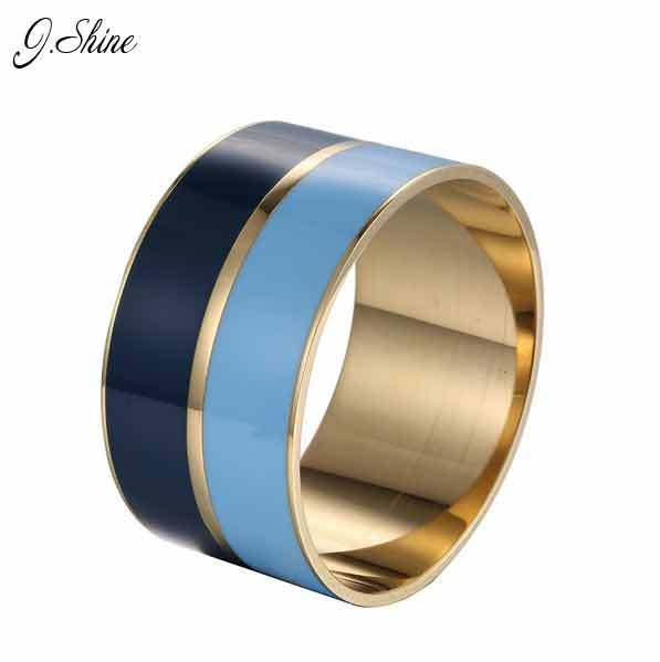 Fashion Arm Jewelry Enamel Wide Bangle Round Metal Bangles Bracelets Gold Plated Stainless Steel Big Bangles for Women Pulseiras