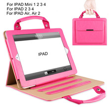 PU Leather Case For Apple IPAD 2 3 4 Case Flip Tablet Shell for IPAD Air 2 With Smart Sleep Wake Up for IPad Mini Handle Case
