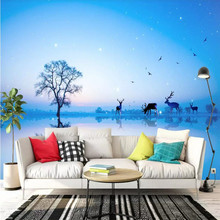 Custom wallpaper Nordic mood Elk forest TV background wall decoration painting high-grade waterproof material
