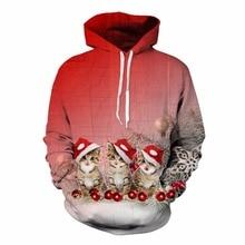 2017 fashion Xmas Christmas Cats hip hop sweatshirts 3d print womens/mens pullover males hooded long sleeve T shirts hoodie wear