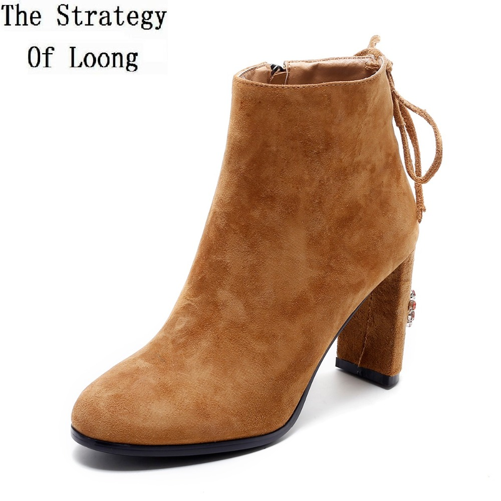Women Sheepskin Round Toe Lace Up Crystal High Heels Ankle Boots Spring Autumn Fashion Casual Real Leather Boots 20170206 front lace up casual ankle boots autumn vintage brown new booties flat genuine leather suede shoes round toe fall female fashion