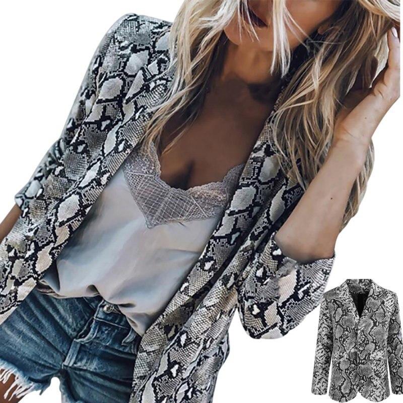 Autumn Fashion Slim Fit Women Formal Jackets Long Sleeve Office Work snake Printing Ladies Outwear