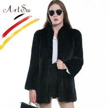 ArtSu Europe Fashion Women Faux Fur Coat Jacket Black Long Sleeve Loose Overcoat Female Winter Furry Coat Plus Size ASCO20167