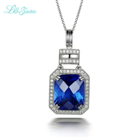 925 Silver Sapphire Blue Rectangular Luxury Fashion Romantic Party Pendant For Woman Gift