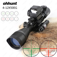 Ohhunt 4 12X50 Illuminated Rangefinder Reticle Rifle Scope Holographic 4 Reticle Sight 11mm and 20mm Red Laser Combo Riflescope