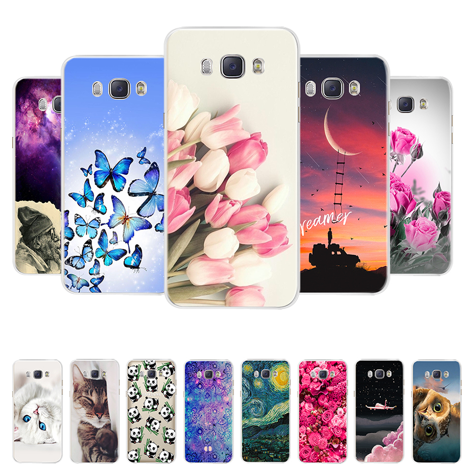 For Funda Samsung Galaxy J5 2016 Case J510 J510F Cover Flowers Painted Back Protective Phone Case For Coque Samsung J5 2016 Case image
