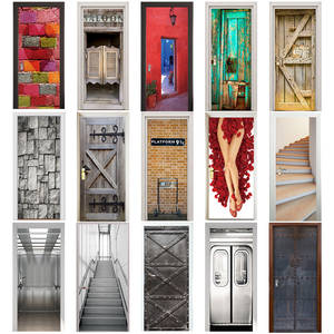 AWOO 3D Sticker Retro Wooden Stairs Bricks Door Home Decor