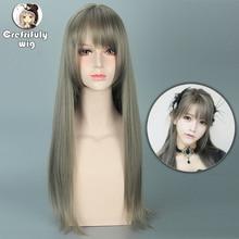 High Quality Yurisa Fashion Grey Harajuku Lolita Wig Cosplay 70cm Long Straight Heat Resistant Synthetic Hair Wigs for Women