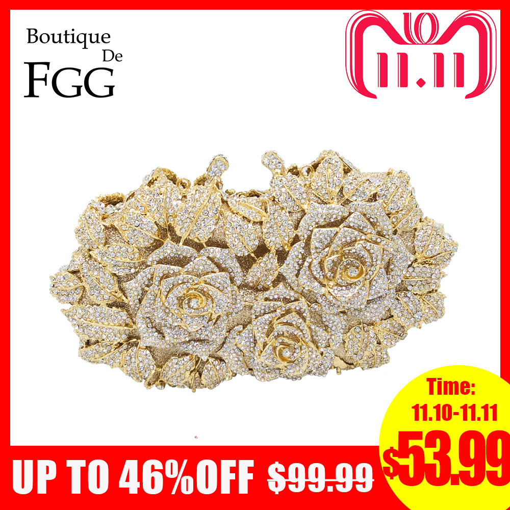 Dazzling Women Gold Rose Flower Hollow Out Crystal Evening Metal Clutches Small Minaudiere Handbag Purse Wedding Box Clutch Bag все цены