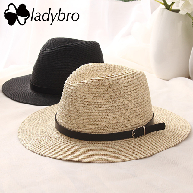 f783a258922b0 Ladybro Wide Brim Straw Hat For Women Sun Hat Beach Jazz Summer Panama Hat  Men Lady Belt Chapeau Male Visor Cap Sombrero Female