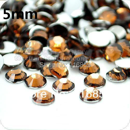 Free shipping Hot sale Wholesale SS20 5mm10000pcs Brown color Resin rhinestones Flatback,nail art rhinestones craft for DIY