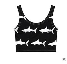 2016 Female Tops Clothings Summer Women Sexy Harajuku Fish Painted Short Slim Stretchy Cheap White And Black Camisole Tops J1597