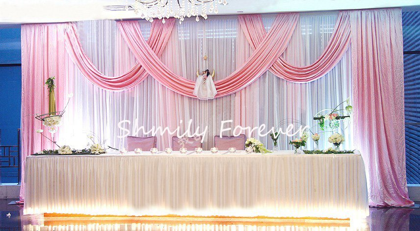 Us 187 06 6 Off White Wedding Backdrop With Baby Pink Swags Luxury Wedding Decoration In Party Backdrops From Home Garden On Aliexpress