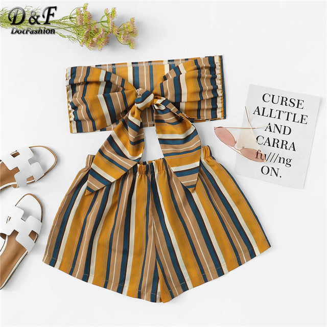 ca1479e0369 Dotfashion Striped Bow Tie Front Crop Top With Shorts Women 2019 Summer  Boho Strapless Korean Fashion Two Piece Set Outfits